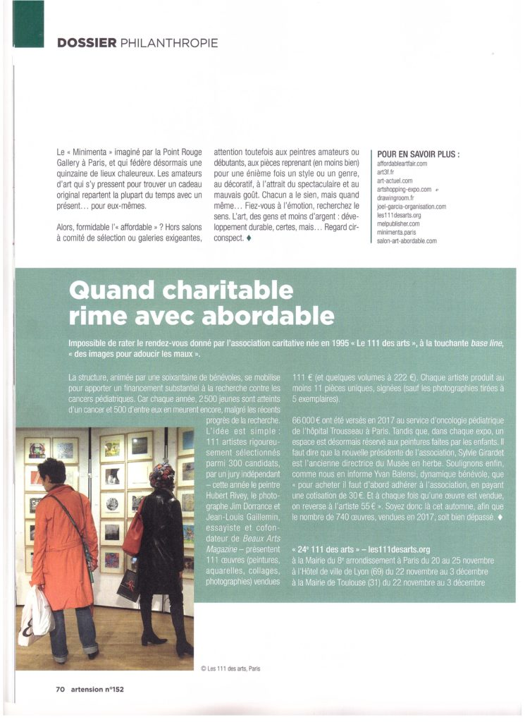 Article Artension sur association 111 des Arts Paris